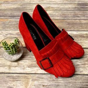 Kenneth Cole Retro Red CASSIA Tassel Block Heels
